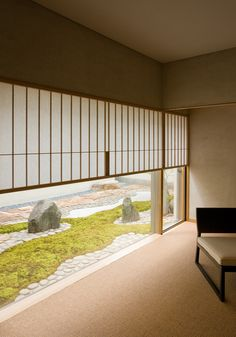 Japanese style room. Low window to sitting height gives a different feel to room- inward looking-secluded