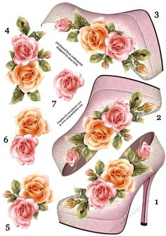 This A4 sheet contains a shoe and rose topper, with six extra decoupage layers, making seven layers in total. This is perfect for people who want to use their own stash of backing papers and embellishments.