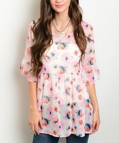 Another great find on #zulily! Off White & Pink Sheer Floral Bell-Sleeve Tunic #zulilyfinds