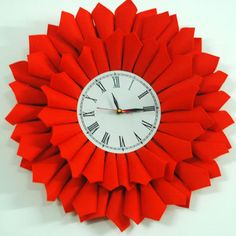 Bloom clock, hand crafted with felt