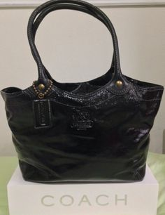 Coach Purses, Coach Bags, Purses And Bags, Black Patent Leather, Large  Black, Totes, Tote Bag, Mint, Peppermint 050f1fbf66