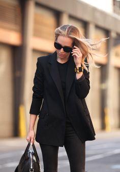 Blazer: Theory (similar style)   Jeans: Rag & Bone   Tee: Vince   Boots: Isabel Marant 'Dicker'   Bag: Givenchy Medium Antigona   Sunglasses: Celine   Bracelets: Brandy Pham Needle Bracelet, Hermes.