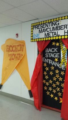 Boosterthon rock'n town classroom door rock and roll theme