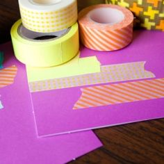 Use decorative & bright washi tape to create lovely note cards.