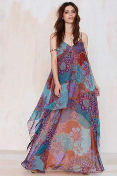 Vintage Amelia Chiffon Maxi Dress
