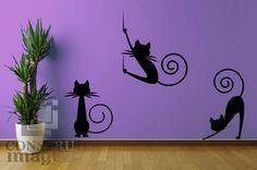"""Disponible Vinil de corte """"Gato sentado"""" """"Gato cayédose"""" """"Gato estirándose"""" Nota: Cada gato es un vinil individual y se vende por separado."""
