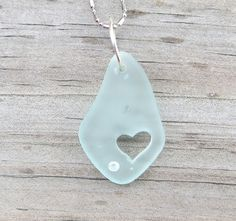 Sea Glass Carved Heart Pale Aqua Necklace Crystal by by WaveofLife