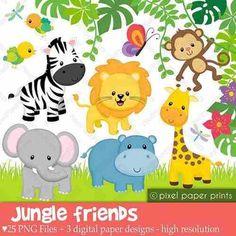 Kit Imprimible Jungla Animalitos Selva Candybar Babyshower 2 - $ 300,00