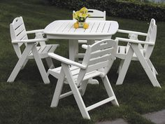 Nautical 5-Piece Dining Set. Made from recycled plastic lumber. Chairs offer a three-position adjustable back for optimal comfort. Available in 7 colors.