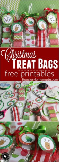 These adorable Christmas Treat Bags take minutes to make and yes, they are super easy. Dig into your crafting supplies, print out the free Christmas tags, grab a bag of mini candy bars and you are set to make these treat bags for a quick and easy Christmas gift. Grab the FREE Christmas Printable to add to the scrapbook paper wrapped candy!
