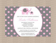 Elephant Girl Baby Shower Invitations by Honeyprint on Etsy, $15.00