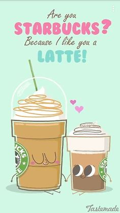 Starbucks coffee pun - I love you a latte Funny Food Memes, Funny Puns, Food Humor, Funny Cartoons, Hilarious, Cute Food Quotes, Pun Quotes, Cheeky Quotes, Love Puns