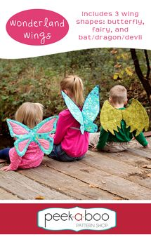 The Wonderland Wings pattern includes 3 fun wing shapes: butterfly, fairy and bat/dragon/devil. The Wonderland Wings are constructed from fabric and interfacing (no wire required!). Comfortable elastic straps hold the wings in place.  #afflink