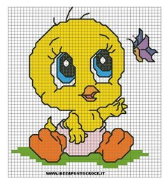 schema titti Mini Cross Stitch, Cross Stitch Charts, Cross Stitch Designs, Cross Stitch Patterns, Pixel Crochet, Stitch Cartoon, Kids Patterns, Perler Patterns, Looney Tunes