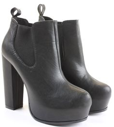 Womens Heeled Booties High Heels Block Shoes Platform Chelsea Ankle Boots Size   eBay