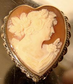 Unusual Vintage Heart Shaped Shell Cameo by FionaKennyAntiques, $90.00