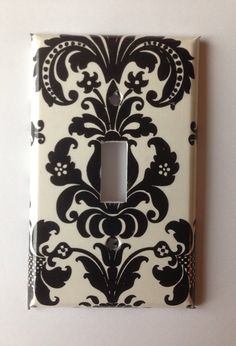 Damask Light Switch Plate Cover/ Black And White Damask Single Light Switch  Plate Cover/ Nursery Decor / Black And White Decor / Paris Decor