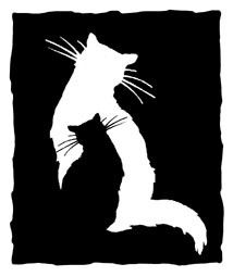 CAT Shadow - unmounted RUBBER STAMP by Cherry Pie Art Stamps