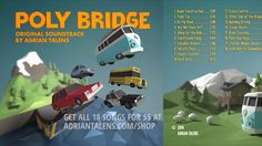 """""""Imagine going on the most relaxing road trip. From the Indie-hit video game Poly Bridge, let this soundtrack perfectly accompany you on your happy travels"""" . Album Stream, Ride 2, Under Construction, Soundtrack, Are You Happy, Countryside, Cruise, Road Trip, Bridge"""