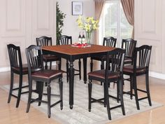 East West Furniture Chelsea Black And Cherry Dining Set With Rectangular Counter Table Counter Height Table Sets, Pub Table Sets, Table And Chair Sets, Dining Room Sets, Pub Tables, Solid Wood Dining Set, Solid Wood Table Tops, Breakfast Nook Dining Set, Wood Table Bases