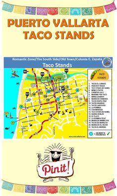 Map of Taco Stands in Puerto Vallarta.  #Taco #PuertoVallarta #MexicanFood  For more information visit us at: http://www.visit-vallarta.com