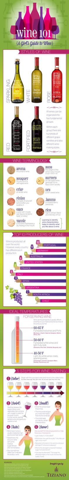 Wine 101 A Girl's Guide to Wine #Infographic #Wine #Girls