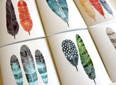 Spring Feather Notecards by River Luna