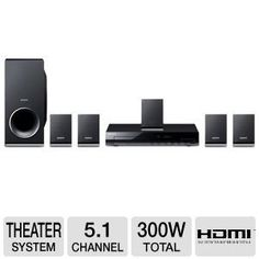 Sony 300 Watts 5.1 Channel Home Theater Surround Sound System With DVD Player, USB, HDMI, FM Tuner by Sony. $129.95. Sony 300 Watts 5.1 Channel Home Theater Surround Sound System with DVD Player, USB, HDMI, FM Tuner  Experience cinema sound with near HD pictures from DVDs with the Sony DVD Home Theater System. Watch your favorite DVD movies upscaled close to high definition with the 5.1-channel surround sound experience. This Home Theater System also allows you to play ...