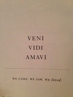 "Correction: This says ""I came. I saw. I loved"" you could change it to ""Veniimus. Vidimus. Amavimus"""