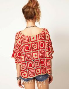 Beautiful #Crochet Squares Sweater by Mink Pink