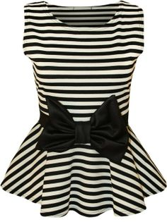 Striped Peplum Bow Top