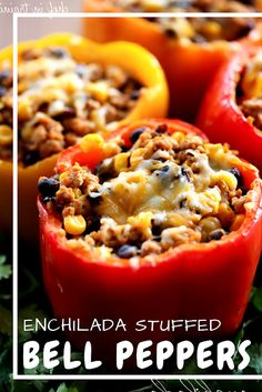 Enchilada Stuffed Bell Peppers Enchilada Stuffed Peppers from chef-in- .This is one DELICIOUS dinner! The flavor is absolutely amazing!Enchilada Stuffed Peppers from chef-in- .This is one DELICIOUS dinner! The flavor is absolutely amazing! Mexican Food Recipes, Beef Recipes, Cooking Recipes, Recipies, Easy Recipes, Skinny Enchiladas, Clean Eating, Healthy Eating, Healthy Meals