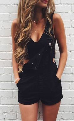 #summer #fashion / black crop top + overalls