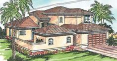 Coronado 11-029. Arched windows and a tile roof set off the clean lines of this roomy home plan.