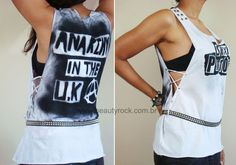 Step by step: DIY Rock T-shirt: might need to translate but the pictures are easy to understand!