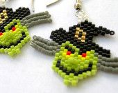Wicked Witch Head Halloween Seed Bead Indian Bick Stitched Dangle Earrings
