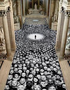 Portraits on the floor of the Panthéon, Paris, 2014 Graffiti Art, 3d Street Art, Modern Art, Contemporary Art, Art Et Architecture, Art Public, Instalation Art, Photocollage, Land Art