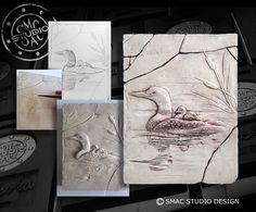 Muskoka, sculpted, drawing, cottage, loon