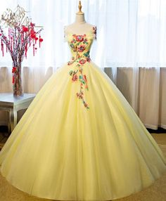Gorgeous Yellow Tulle Ball Gown Sweet 16 Dress, Yellow Quinceanera Dre – BeMyBridesmaid Evening Dresses For Weddings, Formal Evening Dresses, Formal Gowns, Quinceanera Dresses, Homecoming Dresses, Dress Prom, Pageant Dresses, 15 Dresses, Summer Dresses
