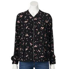 LC Lauren Conrad Floral Bomber Jacket
