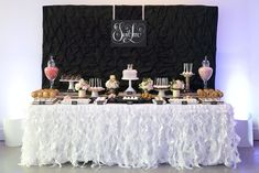 Black, White and Blush Wedding Sweet Table. This entire party is adorable. Love