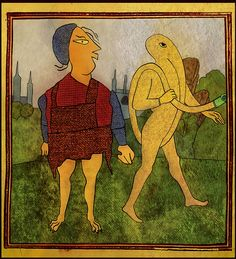 Two figures in a landscape AKA View from a south facing window of Magus Manor, featuring Rosie and Hosie