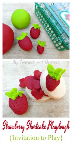 An invitation to play with strawberry shortcake playdough Letter S Activities, Fun Activities For Preschoolers, Playdough Activities, Indoor Activities For Kids, Clay Projects For Kids, Crafts For Kids, Sensory Play, Sensory Bins, Strawberry Shortcake Party