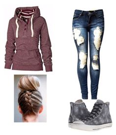 """Slept in 😴😴"" by nerdypanda777 ❤ liked on Polyvore featuring Converse"