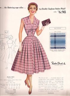 Fashion Frocks Style Card 1950s Full Skirt Gingham Plaid Dress Sold Door-to-Door by Housewives Perfect for Displaying in Your Sewing Room