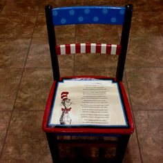 Painted chair for a preschool silent auction! The poem includes the name of all the kids in the class! Where to find a poem like this? School Auction Baskets, Silent Auction Baskets, School Auction Projects, Class Projects, School Fundraisers, Auction Items, Book Crafts, Refinished Furniture, Kid Furniture