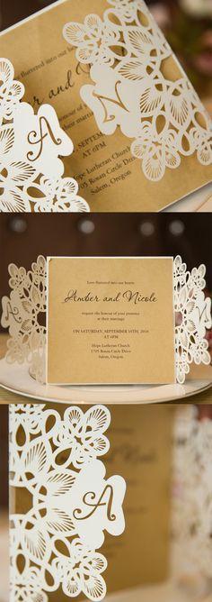 Sophiscated laser cut monogram wedding invitation cadrs #stylishweddinginvitations