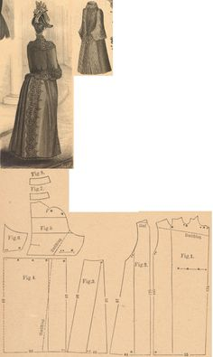 Der Bazar 1889: Moss-green cloth springtime mantle with embroidery; 1. front part, 2. and 3. side gores, 4. back part, 5. collar-sleeve part, 6. undersleeve, 7. and 8. cuff and rolled-collar in half sizes