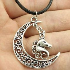 Lovely Crescent Moon And Unicorn Leather Chain Necklace Check Girl Fantasy store for more unicorn Bracelet for great price , unique design and free worldwide shipping Unicorn Jewelry, Unicorn Necklace, Leather Chain, Leather Necklace, Unicorn Gifts, Pendant Design, Necklace Types, Chain Pendants, Jewelry Necklaces
