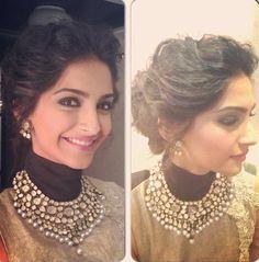 50 Ideas for indian bridal hair style sonam kapoor Bollywood Jewelry, Bollywood Fashion, Bollywood Bridal, Bollywood Style, Sonam Kapoor Hairstyles, Indian Wedding Hairstyles, Bride Hairstyles, Hairstyles Haircuts, Hairstyle Ideas
